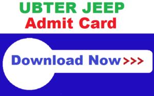 UBTER JEEP Admit Card 2020