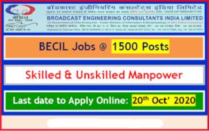BECIL Unskilled Manpower Recruitment 2020