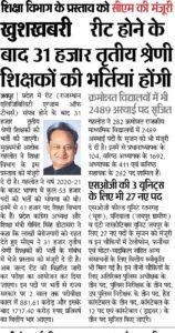 Rajasthan Teacher Recruitment 2020