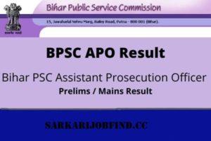 Bihar PSC APO Result 2021